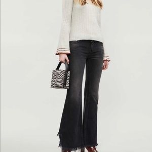 Free People black frayed hem cropped jeans